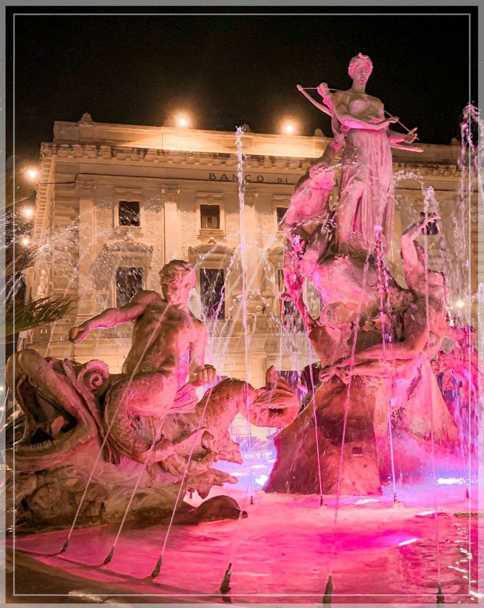 The Fountain of Diana in Ortigia, the historical centre of Syracuse, Sicily