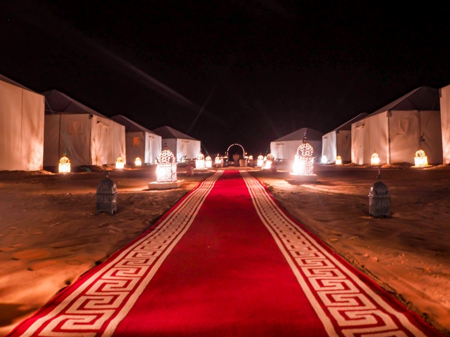 Moroccan Sahara desert camp at night