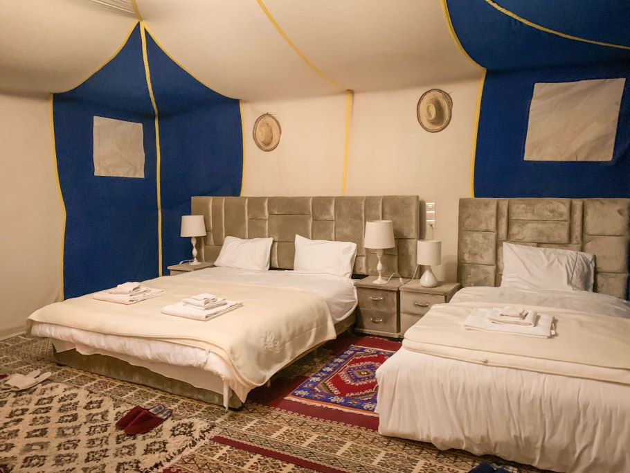 Sahara desert camp tent and bed