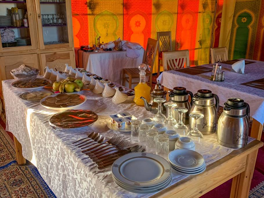 Breakfast buffet at a Sahara desert camp near Merzouga, Morocco