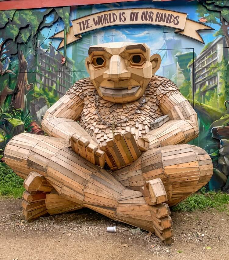 A scrap wood sculpture resembling a troll in Christiania, the hippie district of Copenhagen