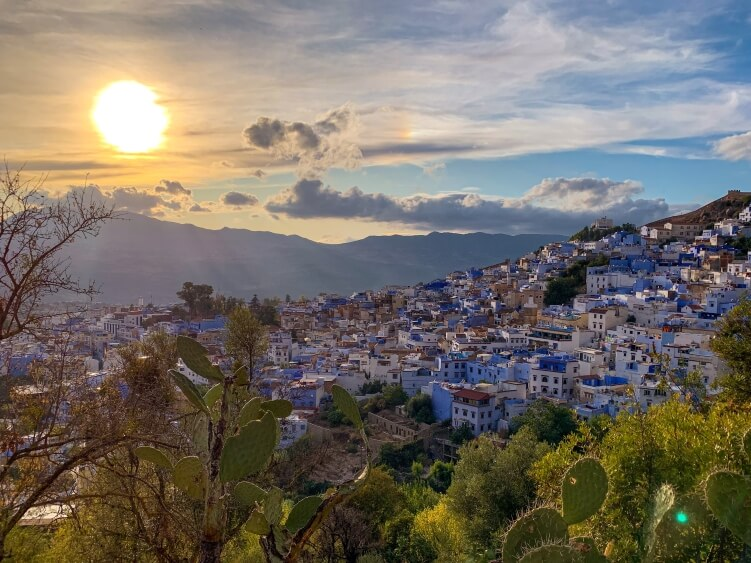 A view over the blue town of Chefchaouen in Morocco
