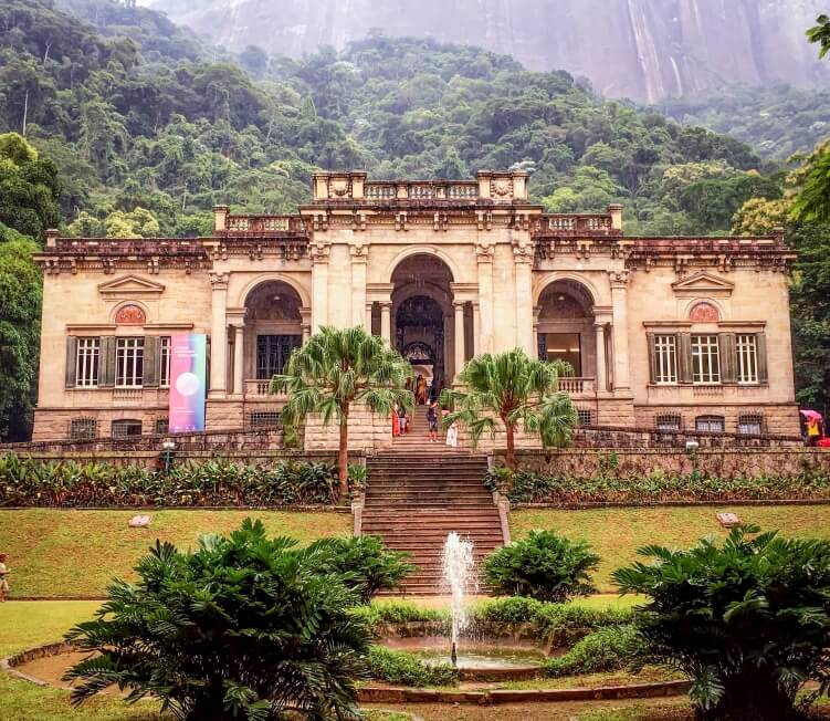 Colonial-style Parque Lage mansion which used to be a private residence but now is home to the Parque Lage cafe