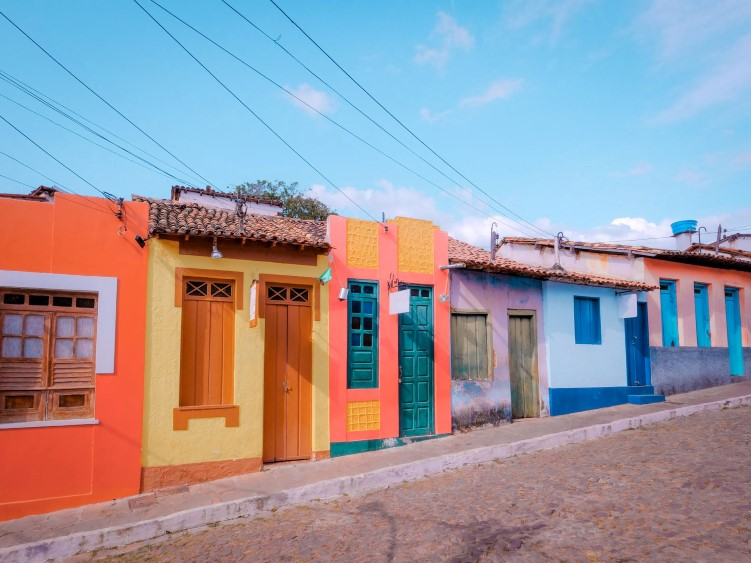 small colorful houses lining the cobblestone streets of the historic town of Lencois in Bahia, Brazil