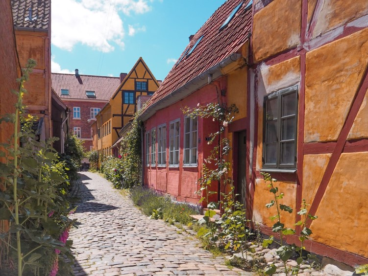 A narrow cobblestone street lined with well-preserved small yellow and red houses in Helsingor, one of the best day trips from Copenhagen
