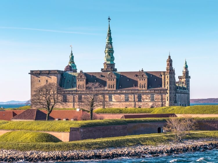The exterior of the Kronborg Castle, the śetting for Shakespeare's Hamlet, in the town of Helsingor - one of the best day trips from Copenhagen