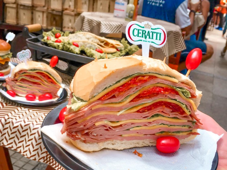 the famous Mortadella sandwich at Sao Paulo's Municipal Market