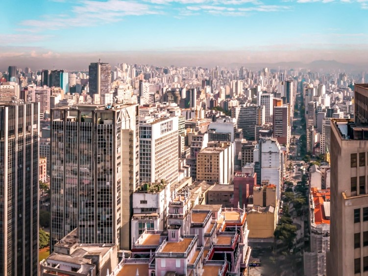 A view over the skyscraper-packed skyline of Sao Paulo, Brazil's largest and wealthiest city with a population of 21 million in its metropolitan area.