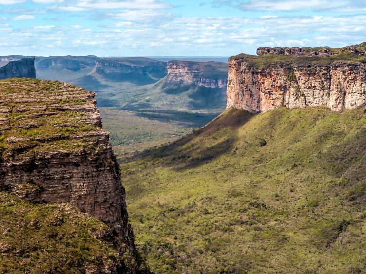 A view from the Pai Inacio hill over several flat-topped mountains in Chapada Diamantina National Park in Bahia, Brazil