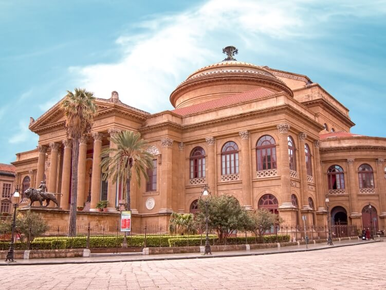 The facade of Massimo Theater on a clear sunny day in Palermo, perfect for a quick visit if you only have one day in Palermo