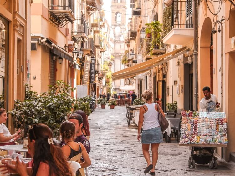If you're spending one day in Palermo, make sure to visit its charming pedestrian streets like this one