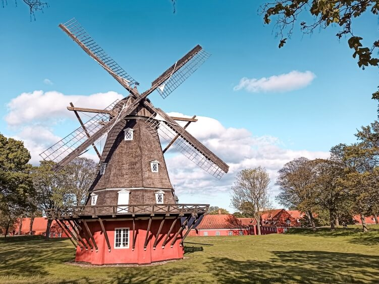 A wooden windmill at Kastellet, a 17th-century fortress in the center of Copenhagen which nowadays is used both for military operations as well as a public park