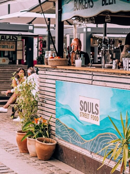 Souls Street Food stall specializing in vegetarian burgers