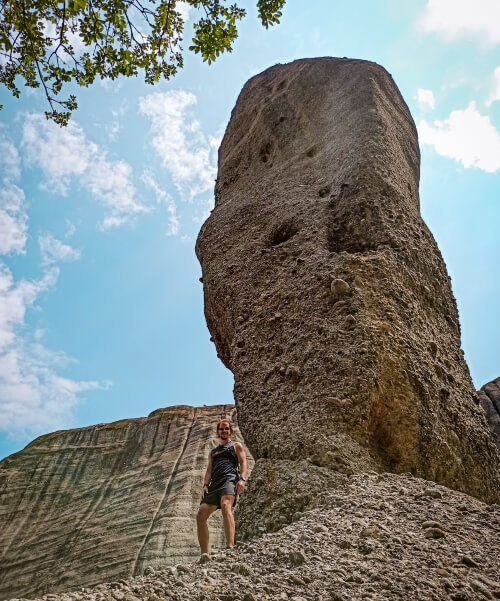 long thin Adrachti rock, also known as the Spindle, one of the best places for hiking in Meteora