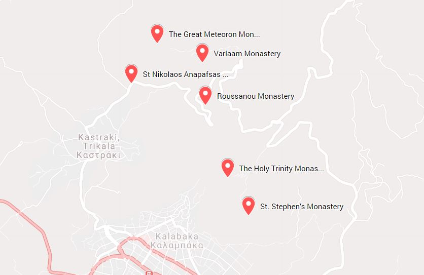 Meteora monasteries map with the six active monasteries in the region