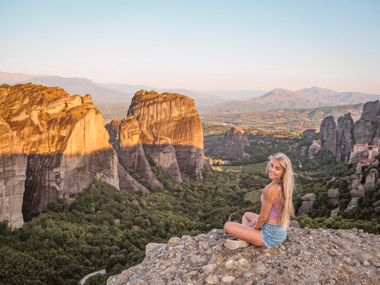 Stunning rocky scenery and green valleys of Meteora during sunrise