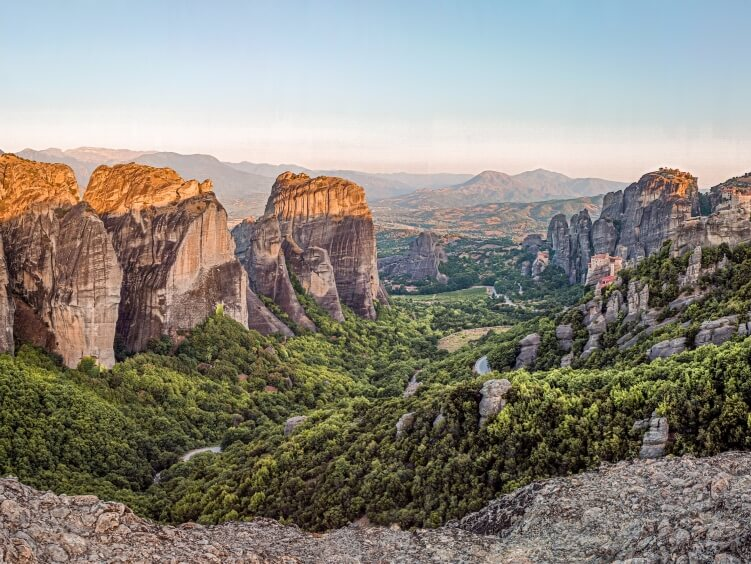 Unique landscape consisting of sandstone rock formations in Meteora region, one of the top hiking destinations in Greece