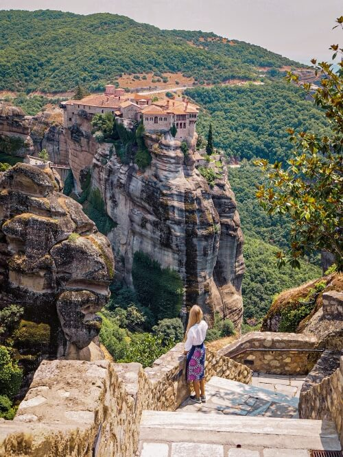 A view from the Great Meteoron Monastery over Varlaam Monastery in Meteora, Greece