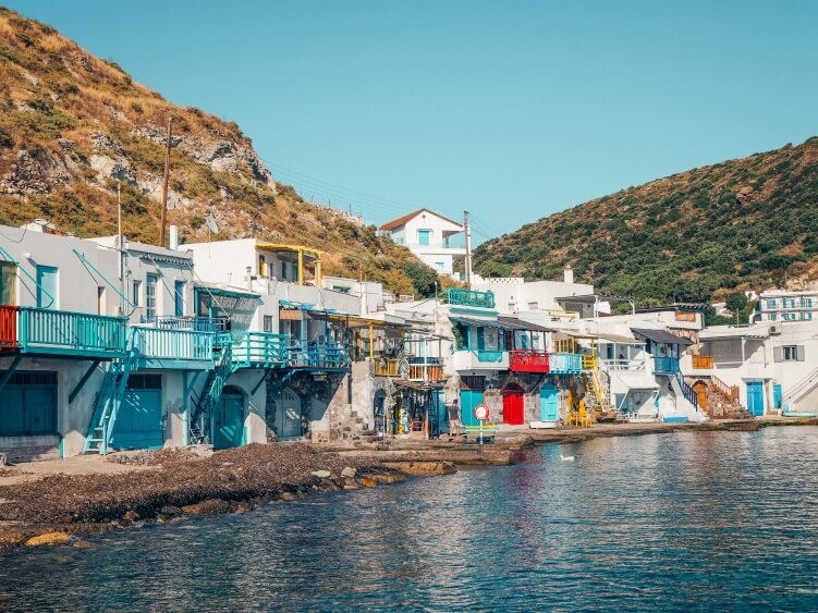A picturesque fishermen village Klima with its traditional white boat houses called 'syrmata'