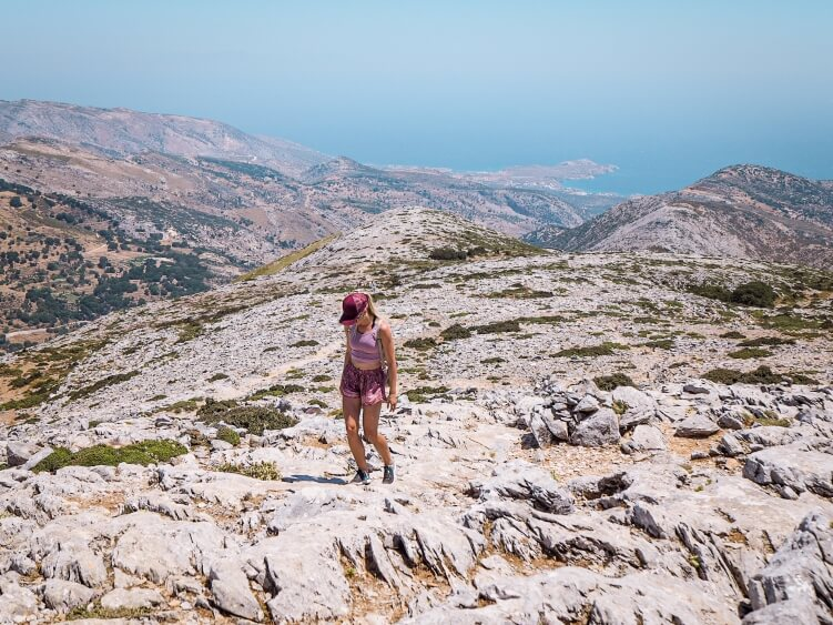 The view from the summit of Mount Zeus which is the highest mountain in the Cyclades and one of the best hikes in Greece