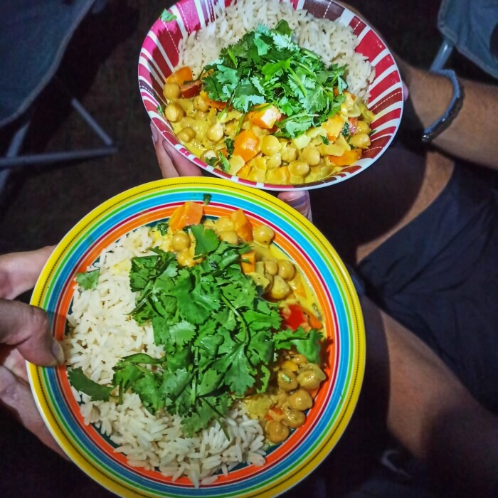 Coconut curry with rice that we prepared during our camping road trip in Costa Rica