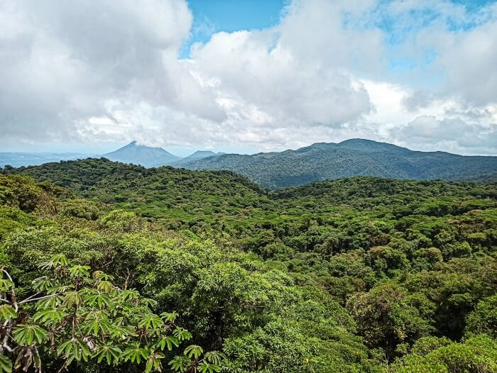 a panoramic view over an abundant rainforest and Arenal Volcano in Santa Elena Cloud Forest reserve