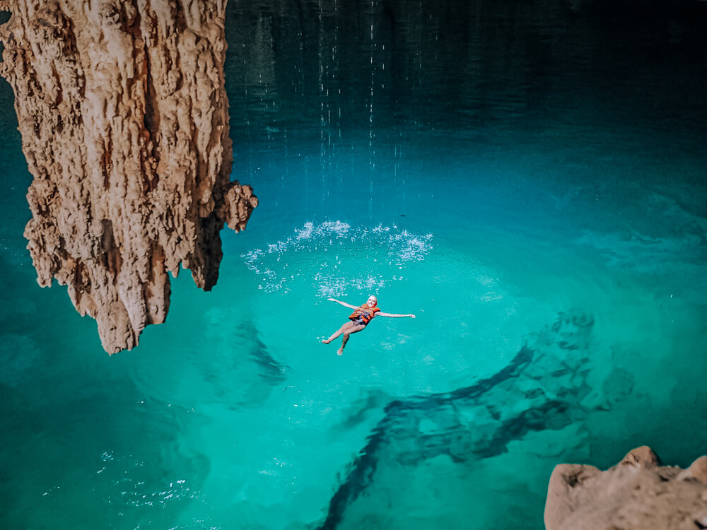 Clear turquoise waters of Cenote Suytun, one of the best cenotes near Valladolid, Mexico