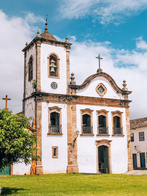 a white church in the historical center of Paraty, in Rio de Janeiro state