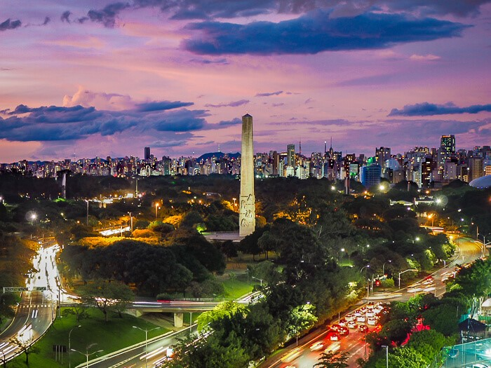 A view from Restaurant Vista over Sao Paulo skyline at sunset
