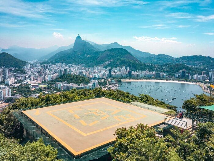Helipad at Morro da Urca where you can buy a helicopter ride and admire spectacular views over Rio