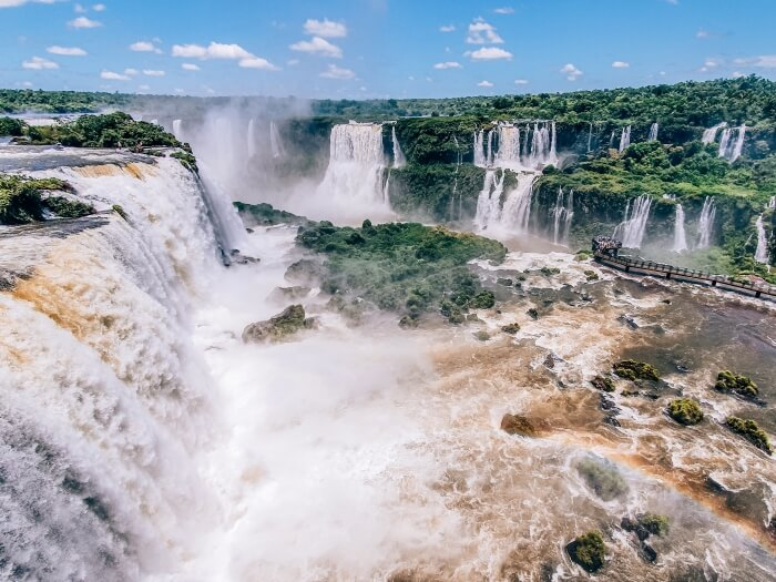 Visiting Iguazu Falls from the Brazilian side allows you to see amazing panoramic views of the cascades