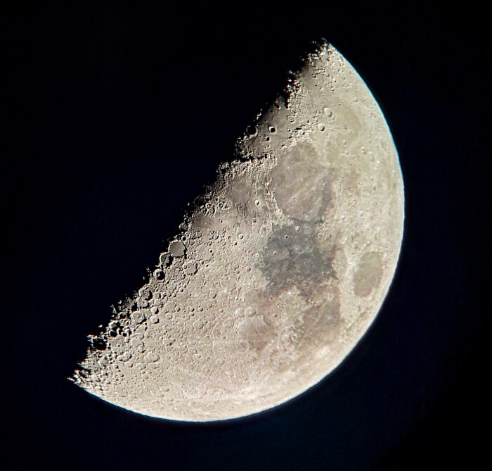 The surface of the Moon observed through a telescope at a stargazing tour in Chile