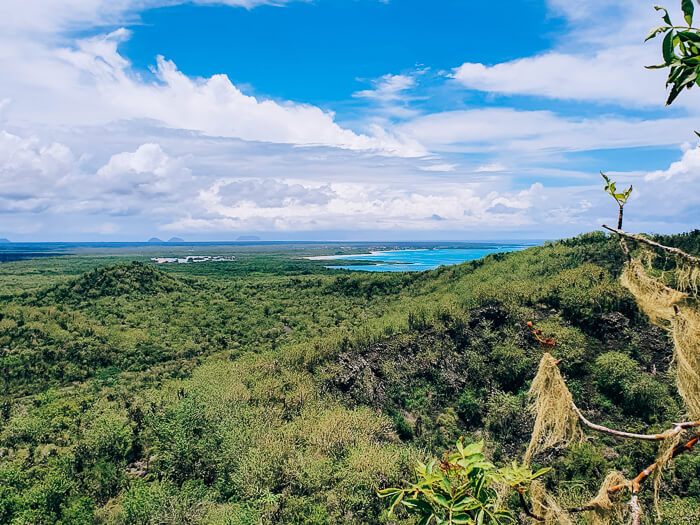 A view over Isabela Island from the Wall of Tears, one of the best Galapagos land based tours to take.