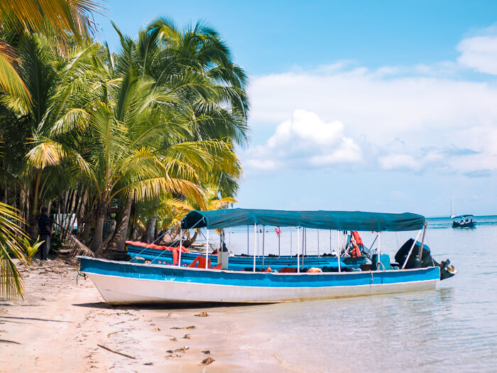 A blue taxi boat standing on the sandy coast of Starfish Beach, one of the coolest Bocas del Toro beaches.