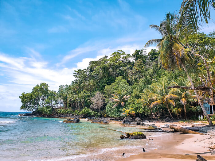 sandy beach, turquoise water and lush green jungle at Red Frog Beach in Bocas del Toro, Panama.