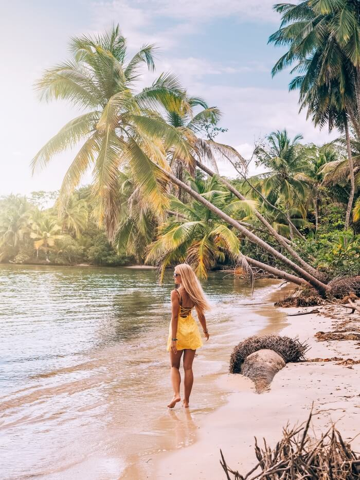 A girl walking on a sandy beach lined with leaning palm trees near Starfish Beach in Bocas del Toro, Panama.