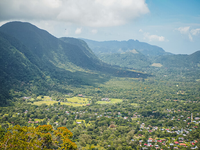A view of El Valle de Anton town and the surrounding volcanic crater covered with dense rainforest.