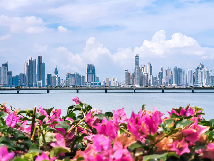 Panama City skyline full of towering skyscrapers, viewed from Casco Viejo, the city's historic district