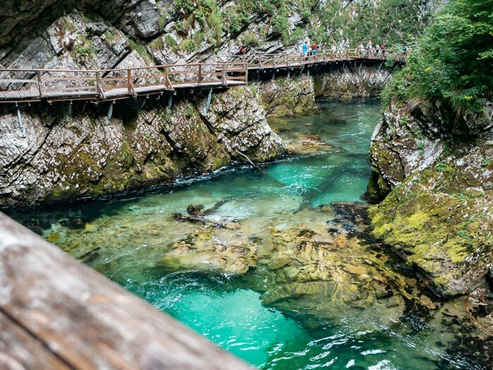 turquoise Radovna River and elevated wooden boardwalks in Vintgar Gorge, one of the top attractions in Slovenia