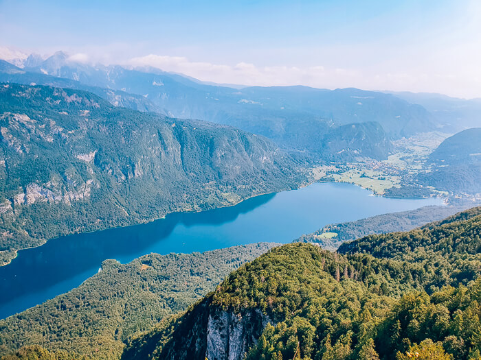 View over Lake Bohinj and the surrounding mountains from Vogel Ski Center