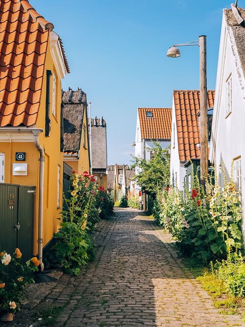 old cottages lining the cobblestone alleys of Dragor, one of the most beautiful places in Denmark