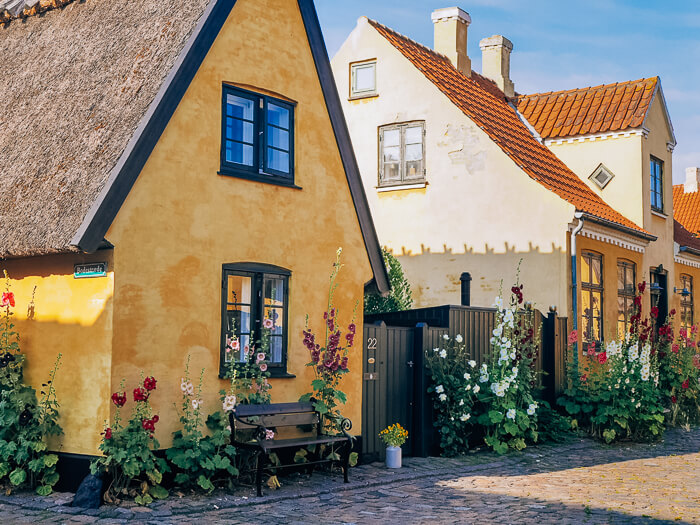 an old cobbled street and small yellow houses in Dragor, a tiny fishing village and one of the best day trips from Copenhagen